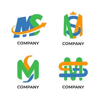 Плоский дизайн коллекции логотипов ms