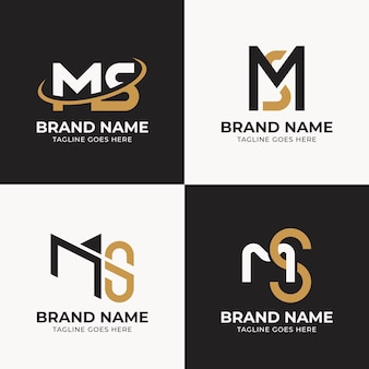 Flat design ms logo template collection