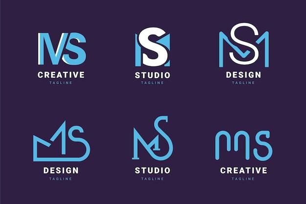 Flat design ms logos pack