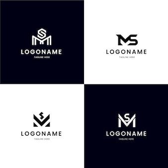 Set di loghi ms design piatto