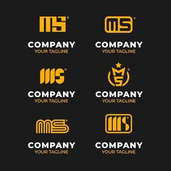 Набор логотипов ms в плоском дизайне