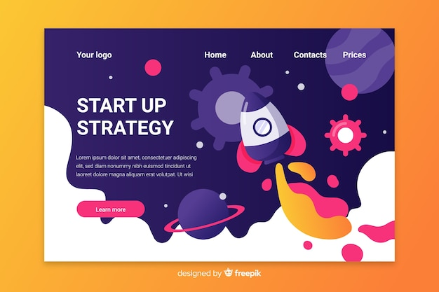 Flat design multicolor start up landing page with space view