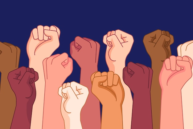 Flat design multiracial raised fists illustration