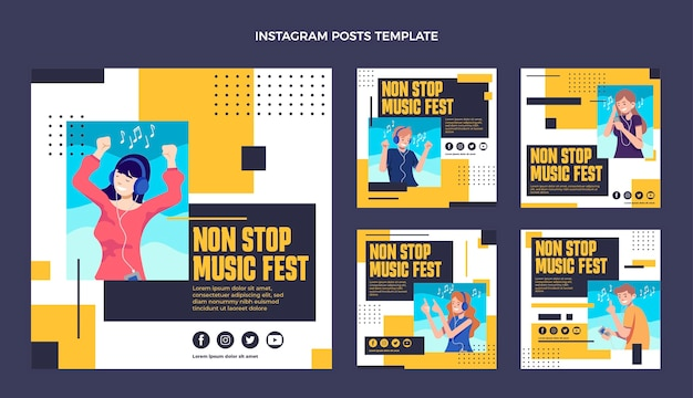 Flat design music festival instagram posts