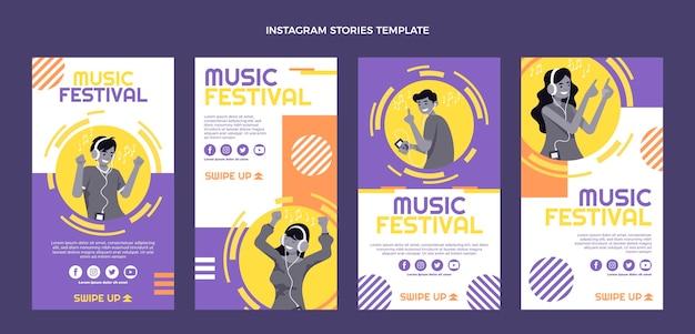 Flat design music festival instagram stories