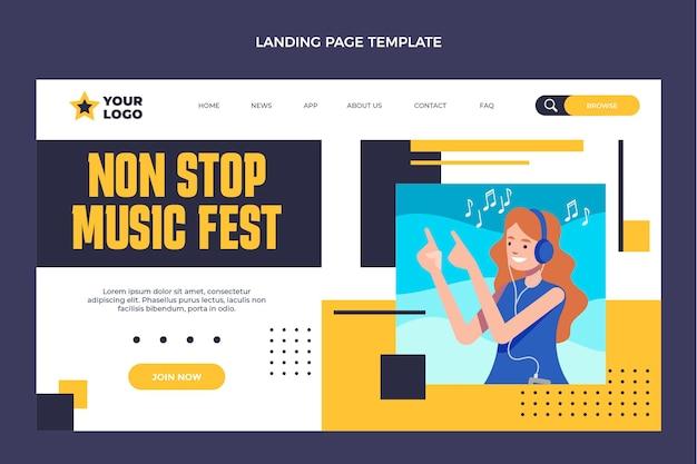 Целевая страница музыкального фестиваля в плоском дизайне