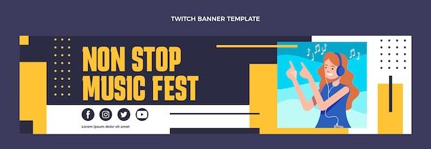 Плоский дизайн музыкального фестиваля twitch баннер