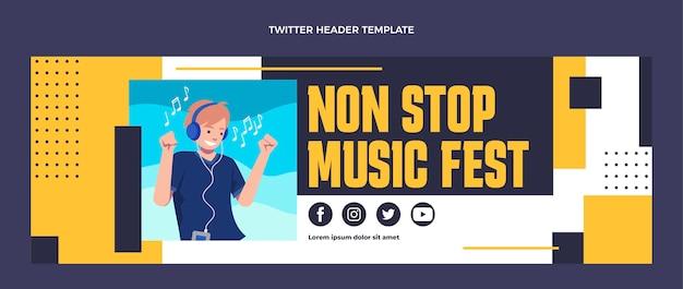 Flat design music festival twitter header