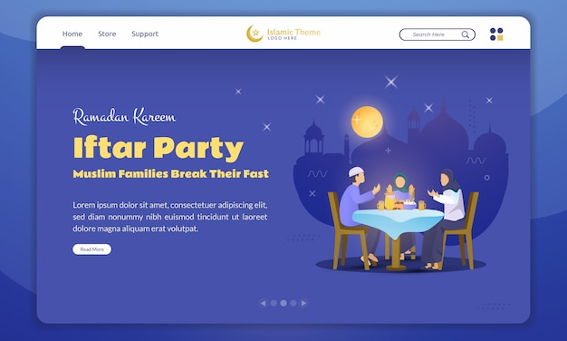 Flat design of a muslim family's iftar party or break their fast for ramadan concept on landing page
