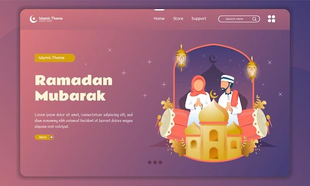 Flat design of muslim family welcomes ramadan kareem on landing page template