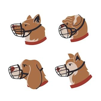 Flat design muzzled animals set