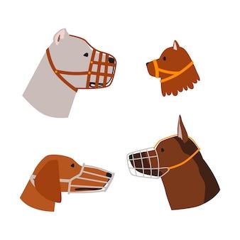 평면 디자인 muzzled 동물 세트