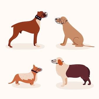 Набор плоских животных в намордниках