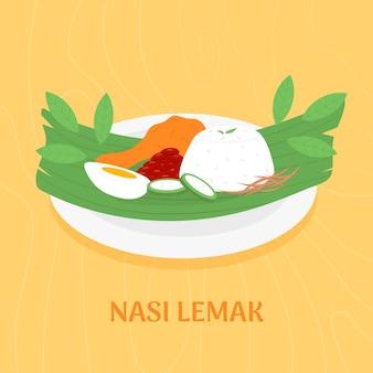 Плоский дизайн nasi lemak, иллюстрированный