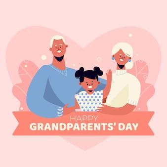 孫娘とフラットデザイン国立祖父母の日の背景