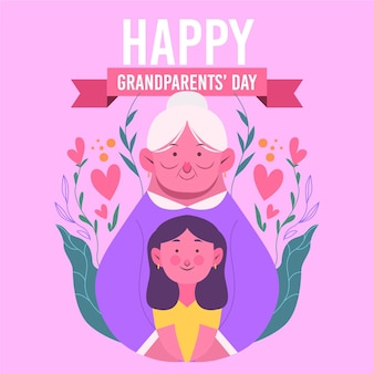 Flat design  national grandparents' day background with grandmother and woman