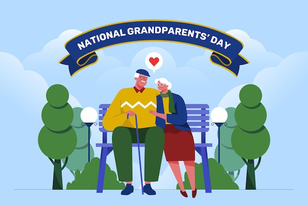 평면 디자인 국가 조부모의 날 배경