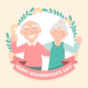 Flat design national grandparents day concept