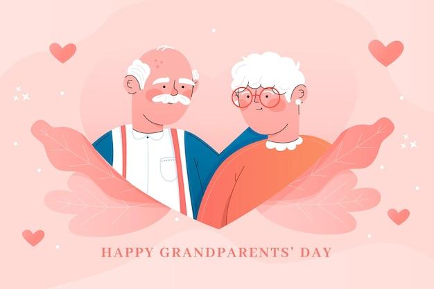 フラットなデザインの祖父母の日イベントの表現