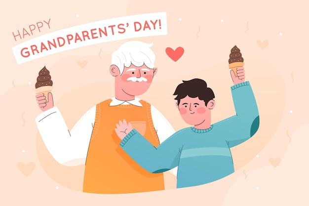 フラットデザインの全国祖父母の日イベント