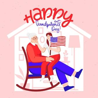 평면 디자인 국가 조부모의 날 미국