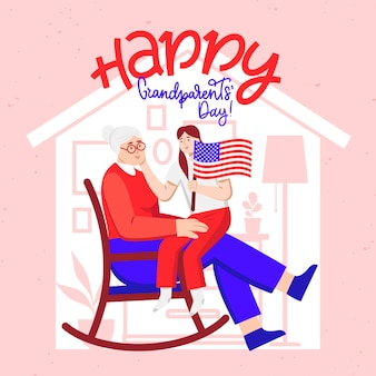 Flat design national grandparents' day usa