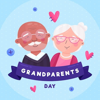 Flat design national grandparents' day with hearts