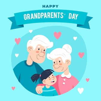 Flat design national grandparents' day