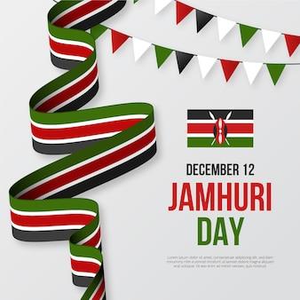 Плоский дизайн ленты и гирлянды национального дня джамхури