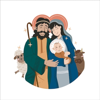 Flat design nativity scene concept
