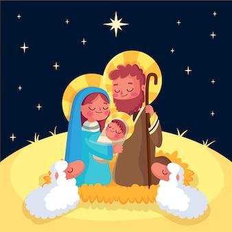 フラットなデザインのキリスト降誕のシーンのコンセプト