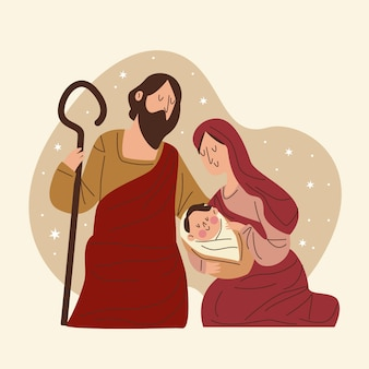 Flat design nativity scene concept