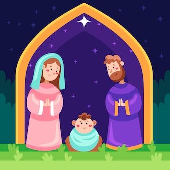 フラットなデザインのキリスト降誕のシーンのイラスト