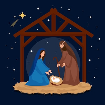 Flat design nativity scene wallpaper