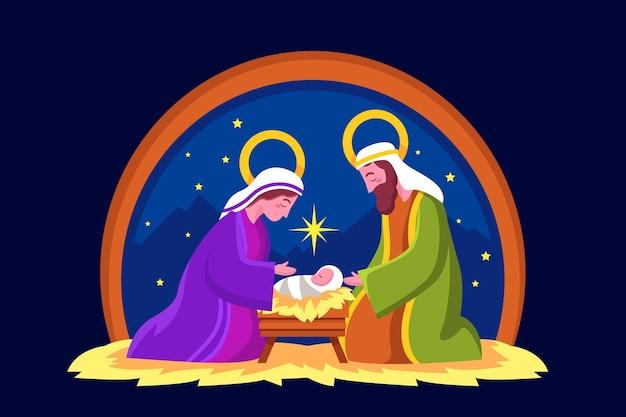 Flat design nativity scene