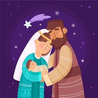 フラットなデザインのキリスト降誕のシーン