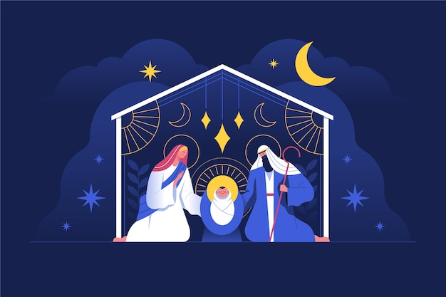 Flat design nativity scene