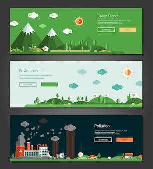 평면 디자인 자연과 생태 풍경 배너 세트