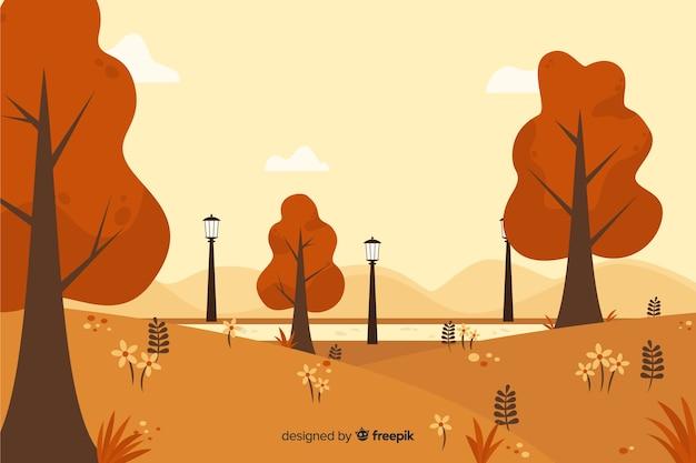 Flat design natural background of autumn