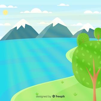 Плоский дизайн естественный ландшафтный фон