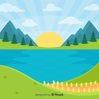 Flat design natural landscape background