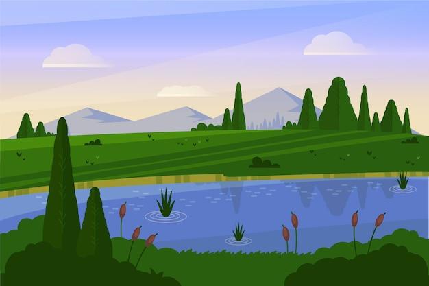 Flat design natural landscape with lake