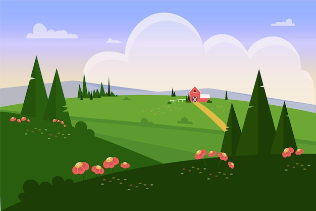 Flat design natural landscape with meadow