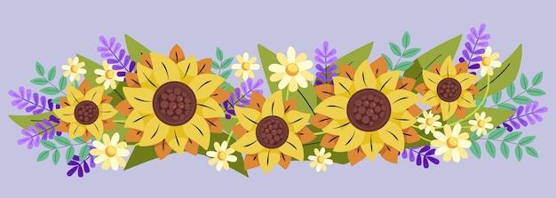 Flat design natural sunflower border
