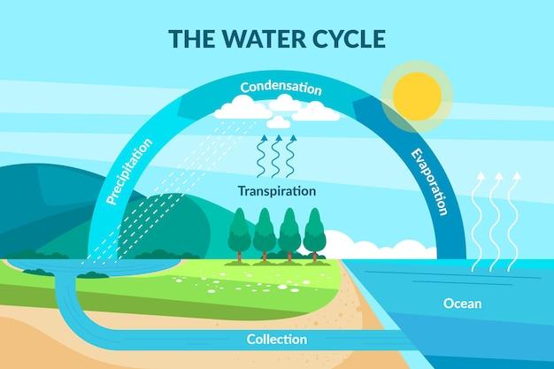 Ciclo dell'acqua naturale dal design piatto
