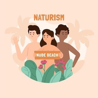 Concetto di naturismo di design piatto illustrato