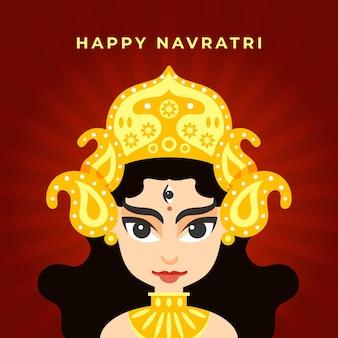 Flat design navratri background with goddess