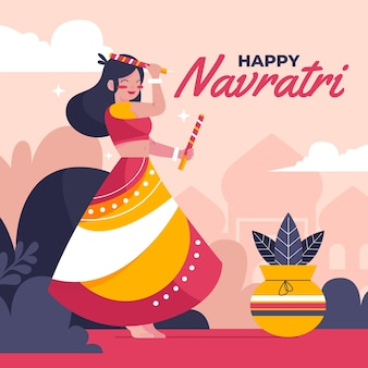Flat design navratri background