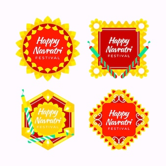 Flat design navratri labels collection