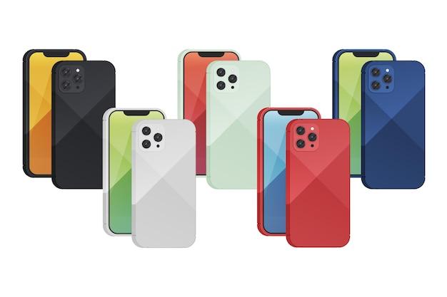 異なる色のセットでフラットデザインの新しいスマートフォン